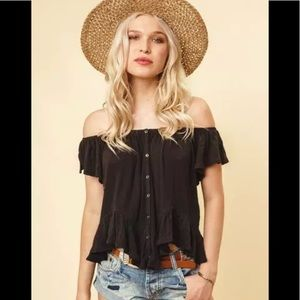 Free People Mint Julep Ruffle Hem Tee